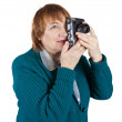Woman taking photo with vintage camera — Stock Photo