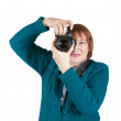 Senior woman taking photo — Stock Photo