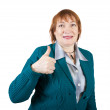 Senior businesswoman with thumb up — Stock Photo