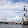 Stock Photo: Old time ship at harbor
