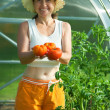 Woman with tomato  hothouse — Stock Photo