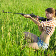 Royalty-Free Stock Photo: Girl with air rifle