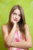 Long-haired girl having disappointment — Stock Photo