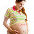 Pregnant woman with HAPPY on belly — Stock Photo #4817746
