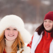 Girls workouts at winter park — Stock Photo #4818306