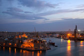 Grand Harbour in dusk. Malta — Stock Photo