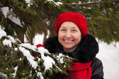 Mature woman in winter — Stock Photo
