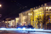 Night view of wintry street — Stockfoto