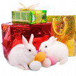 Easter rabbits with gifts — Stock Photo