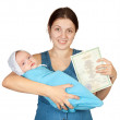 Mother holding baby and certificate of birth — Stock Photo