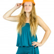 Female  worker in hardhat — Stock Photo