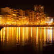 sliema from sea side in nigh — Stock Photo