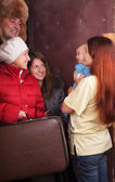 Mother with baby is meeting a kinsfolk — Stock Photo