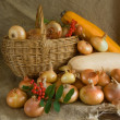 Onion in basket and vegetable marrow — Stock Photo