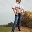 Country girl on hay — Stock Photo #4831928