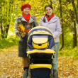 Woman and adult daughter with pram — Stock Photo #4832625
