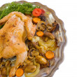 Whole stuffed chicken — Stock Photo