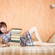 Female student with books on sofa — Stock Photo #4832965