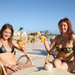 Girls relaxing at resort hotel — Stock Photo #4834661