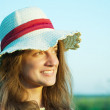 Girl in hat - Stok fotoraf