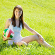 Girl with volleyball — ストック写真