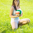 Sporty girl with volleyball — Stock Photo #4834966