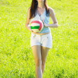Sporty girl with volleyball — Stock Photo #4835008