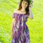 Portrait of girl in flowers chaplet — Stock Photo #4835067