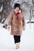 Winter portrait of mature woman — Stock Photo