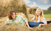 Girls in checked shirts on hay — Stock Photo