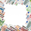 Frame from many euro banknotes — Stock Photo