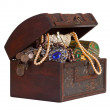 Treasure trunk with jewellery - Stock Photo