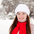 Porty girl  at winter park - Stock Photo