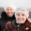 Stock Photo: Happy women in winte