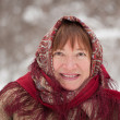 Stock Photo: Woman wearing kerchief in winter