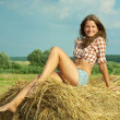 Girl in checked shirt  on straw - Stock Photo