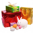 Easter rabbit with gift — Stock Photo