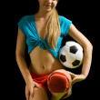 Sexy female soccer player with ball — Stock Photo