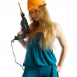 Girl with drill — Stock Photo