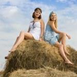 Girls on hay bale — Stock Photo #5154967
