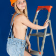 Stock Photo: Sexy girl on stepladder