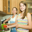 Mother and daughter in the kitchen — Stock Photo #5156371