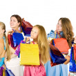 Girls holding shopping bags — Stock Photo