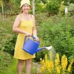Woman watering flowers — Stock Photo #5156898