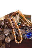 Closeup of full treasure chest — Stock Photo