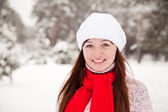 Porty girl at winter park — Stock Photo
