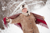 Woman with kerchief in winter — Stock Photo