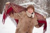 Mature woman with babushka — Stock Photo