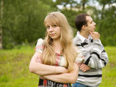 Quarrel in the park. — Stock Photo