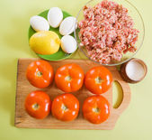 Ingredient for stuffed tomato — Stock Photo